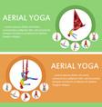 aerial yoga flyers with woman silhouette vector image vector image