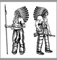 american indians set in monochrome style vector image vector image