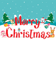 Animals And Merry Christmas Text vector image vector image