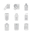 bank terminal credit card icons set outline style vector image