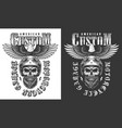 biker emblem with eagle vector image