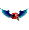bird skull with wings for tattoo design vector image vector image