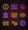 bitcoin cryptocurrency neon light icons set vector image vector image