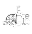 bottle wine and grapes vector image vector image