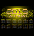 calendar 2019 gold light bokeh night vector image vector image