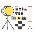 camera photo studio icons optic lenses vector image