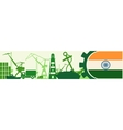 Cargo port relative icons set India flag in gear vector image vector image