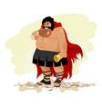 caricature of an obese spartan vector image vector image