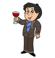 cartoon wine drinker vector image