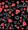 chaotic texture with many love signshand drawn vector image vector image