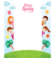Children Relaxing On Frame vector image