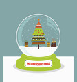 christmas snow globe with fir tree vector image