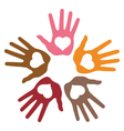 Circle of 5 loving hand prints vector image vector image