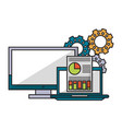 computer with documents and gears vector image vector image