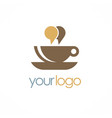 cup coffee chat talk logo vector image vector image