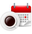Cup of coffee ad calendar vector image vector image