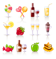 dessert and drink icons vector image vector image