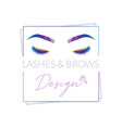 eyelashes and eyebrows make up design logo vector image
