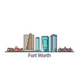 flat line fort worth banner vector image vector image