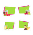 flat smoothie stickers with place for text vector image vector image