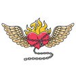 flying heart in chain of loveflaming heart tattoo vector image vector image