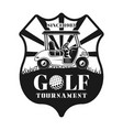 golf tournament shield emblem with car vector image vector image