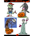 Halloween Cartoon Spooky Themes Set vector image