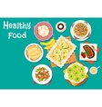 Healthy meat dishes with fruit desserts icon vector image