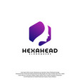 hexagone head logo head intelligence logo vector image