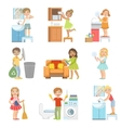 Kids Doing A Home Cleanup vector image vector image