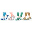 legs in sneakers female or male legs wearing vector image