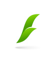 Letter F eco leaves logo icon design template vector image vector image