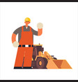 male builder wearing hard hat busy workman vector image