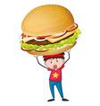 Man holding giant hamburger vector image vector image
