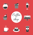Monochrome set of coffee items vector image vector image