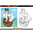 pirate on ship cartoon coloring book vector image vector image