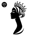 queen woman in crown black and white silhouette vector image vector image