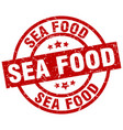 sea food round red grunge stamp vector image vector image