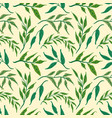seamless pattern green herbs and leaves seamless vector image