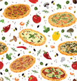 seamless pattern with pizza vector image vector image
