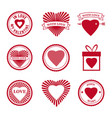 set love mail icon happy valentine day heart vector image vector image