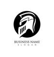 sign spartan helmet logo template icon design vector image vector image