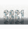 silver new 2021 year 3d greeting card vector image vector image