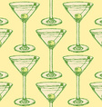 Sketch martini glass with olive in vintage style vector image