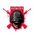 skull in a stormtrooper helmet sport game logo vector image