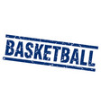 square grunge blue basketball stamp vector image vector image