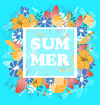 summer poster with floral and fauna elements vector image