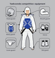 Taekwondo sport competition equipment vector image vector image