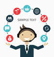 Technical support assistant man flat design vector image