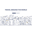 traveling world doodle concept vector image vector image